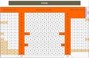 seat numbered floor plan for Heritage Hall